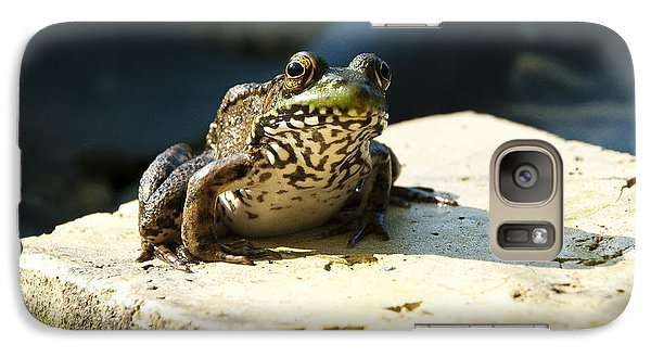 Galaxy Case featuring the photograph Green Frog - Lookin At Yah by Janice Adomeit