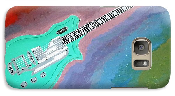 Galaxy Case featuring the painting Green Guitar by Magdalena Frohnsdorff