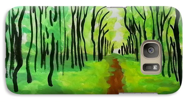 Galaxy Case featuring the painting Green Leaves by Marisela Mungia