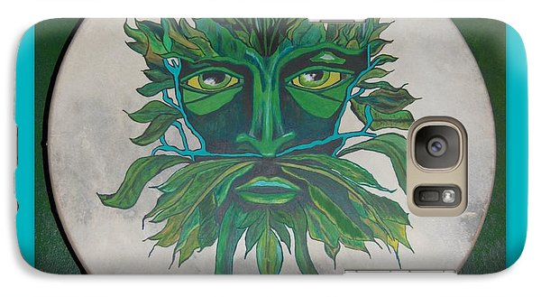Galaxy Case featuring the painting Green Man On Bodhran by Linda Prewer