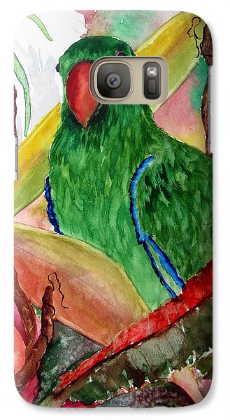 Galaxy Case featuring the painting Green Parrot by Lil Taylor