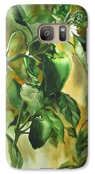 Galaxy Case featuring the painting Green Peppers From Our Garden by Alfred Ng