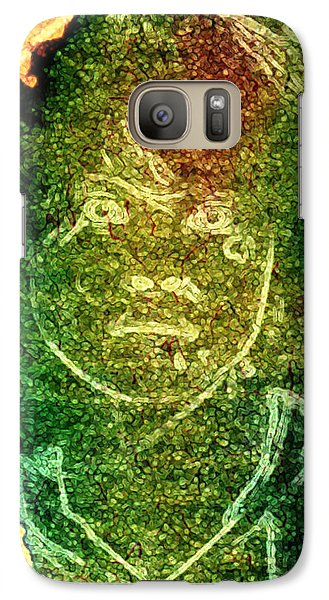 Galaxy Case featuring the digital art Green Sad Face by Andrea Barbieri