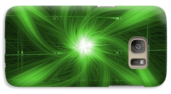 Galaxy Case featuring the digital art Green Swirl by Maggy Marsh