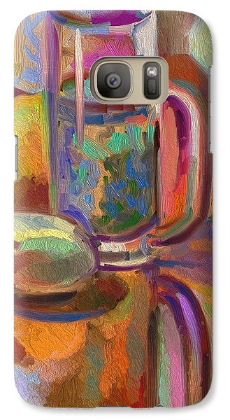 Galaxy Case featuring the digital art Green Tea On Piano Bench by Clyde Semler