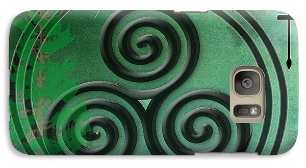 Galaxy Case featuring the digital art Green Watercolor Ailim Celtic Symbol by Kandy Hurley