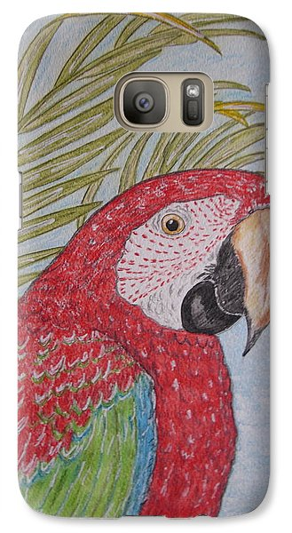Galaxy Case featuring the painting Green Winged Macaw by Kathy Marrs Chandler