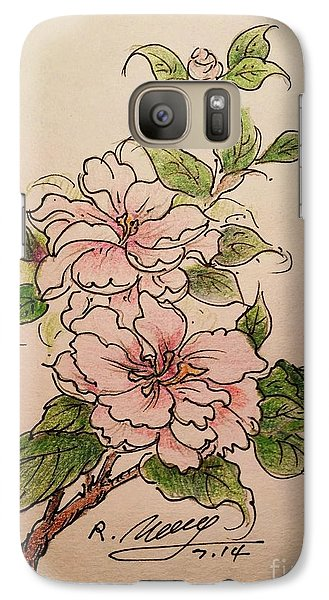 Galaxy Case featuring the drawing Greeting Flower by Rose Wang