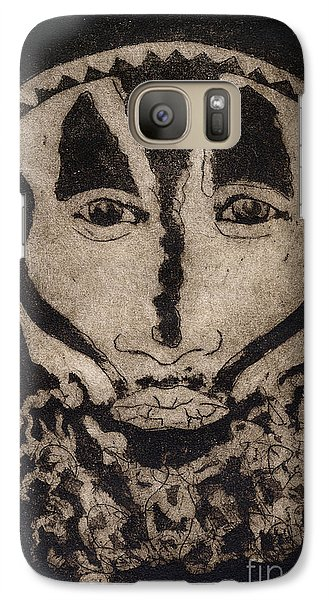Galaxy Case featuring the painting Greetings From New Guinea - Mask - Tribesmen - Tribesman - Tribal - Jefe - Chef De Tribu by Urft Valley Art
