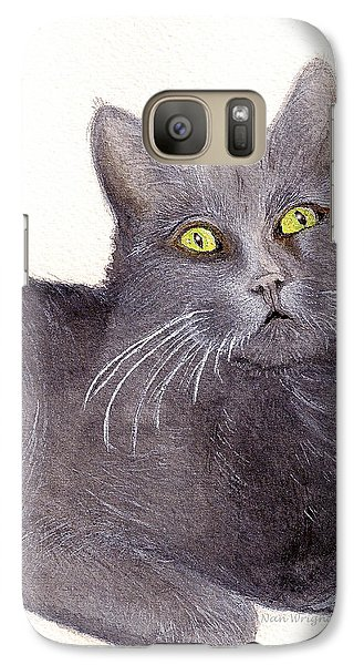 Galaxy Case featuring the painting Grey Cat by Nan Wright