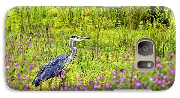 Galaxy Case featuring the photograph Grey Heron Stalking In Margins. by Paul Scoullar