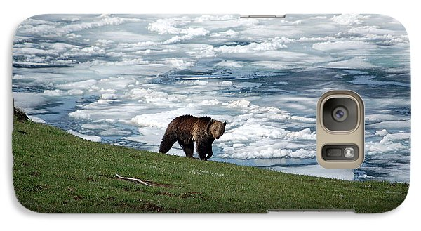 Galaxy Case featuring the photograph Grizzly Bear On Frozen Lake Yellowstone by Shawn O'Brien