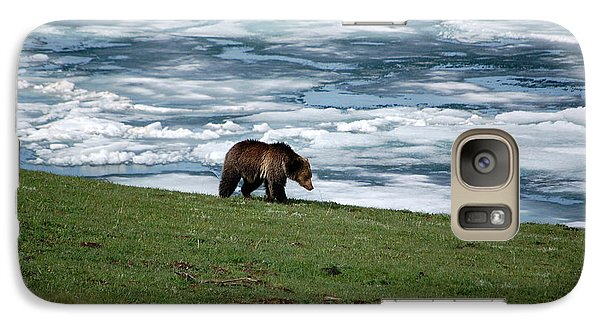 Galaxy Case featuring the photograph Grizzly Bear On The Shoreline Of Frozen Lake Yellowstone by Shawn O'Brien