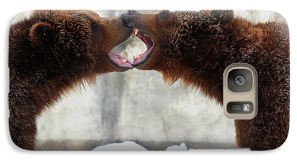 Galaxy Case featuring the photograph Grizzly Bears Facing Off by Jerome Lynch