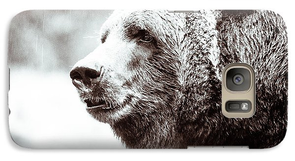 Galaxy Case featuring the photograph Grizzly In Black And White by Wade Brooks