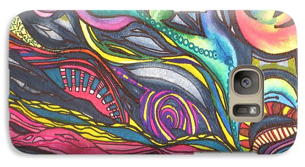 Galaxy Case featuring the painting Groovy Series Titled Thoughts by Chrisann Ellis