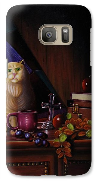 Galaxy Case featuring the painting Grumpy Cat by Gene Gregory