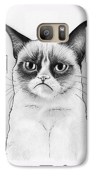 Cat Galaxy S7 Case - Grumpy Cat Portrait by Olga Shvartsur