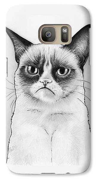 Grumpy Cat Portrait Galaxy Case by Olga Shvartsur