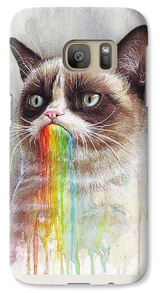 Grumpy Cat Tastes The Rainbow Galaxy S7 Case by Olga Shvartsur