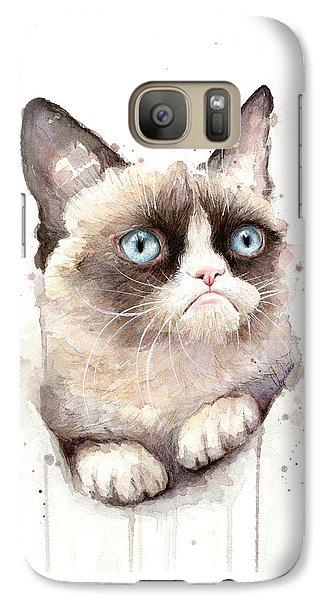 Portraits Galaxy S7 Case - Grumpy Cat Watercolor by Olga Shvartsur