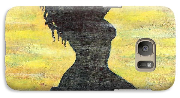 Galaxy Case featuring the painting Grunge Girl Female Silhouette Pop Art by Bob Baker