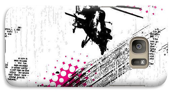 Helicopter Galaxy S7 Case - Grunge Vector Background Illustration by Elanur Us