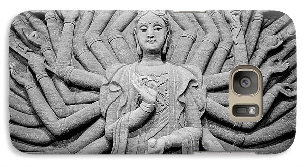 Galaxy Case featuring the photograph Guanyin Bodhisattva In Black And White by Dean Harte