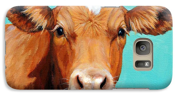 Cow Galaxy S7 Case - Guernsey Cow On Light Teal No Horns by Dottie Dracos