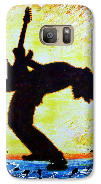 Galaxy Case featuring the painting Guitarist Rockin' Out Silhouette by Bob Baker