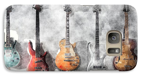 Galaxy Case featuring the mixed media Guitars On The Wall by Arline Wagner