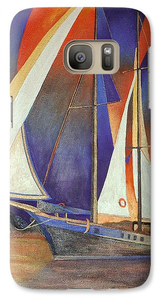Galaxy Case featuring the painting Gulet Under Sail by Tracey Harrington-Simpson