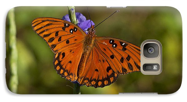 Galaxy Case featuring the photograph Gulf Fritillary Butterfly by Meg Rousher