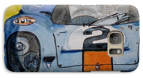 Galaxy Case featuring the painting Gulf Porsche by Anna Ruzsan