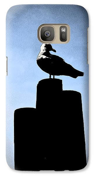 Galaxy Case featuring the digital art Gull Silhouette by Kathleen Stephens