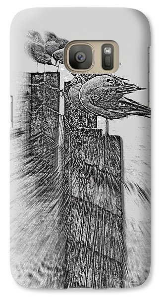 Galaxy Case featuring the photograph Gulls In Pencil Effect by Linsey Williams