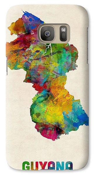 Guyana Watercolor Map Galaxy Case by Michael Tompsett