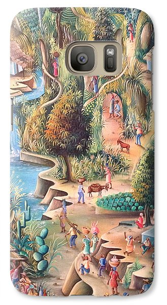 Galaxy Case featuring the painting Haitian Village by Dimanche from Haiti