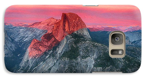 Galaxy Case featuring the painting Half Dome Sunset From Glacier Point by John Haldane