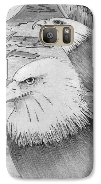 Galaxy Case featuring the painting Haliaeetus Leucocephalus Named By Roger Swezey by Richie Montgomery