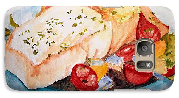 Galaxy Case featuring the painting Halibut Dinner by Carol Grimes