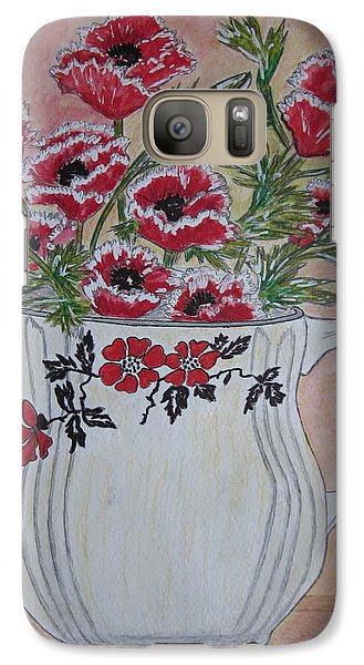 Galaxy Case featuring the painting Hall China Red Poppy And Poppies by Kathy Marrs Chandler
