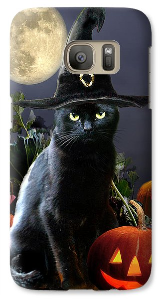 Witchy Black Halloween Cat Galaxy S7 Case