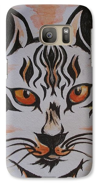 Galaxy Case featuring the painting Halloween Wild Cat by Teresa White