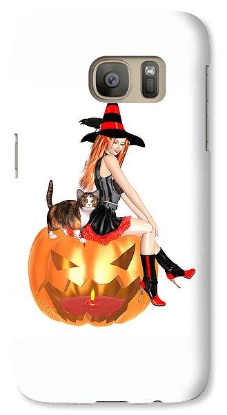Luxmaris Galaxy S7 Case - Halloween Witch Nicki With Kitten by Renate Janssen