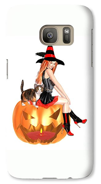 Halloween Witch Nicki With Kitten Galaxy S7 Case
