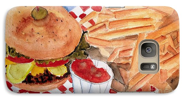 Galaxy Case featuring the painting Hamburger Plate With Fries by Carol Grimes