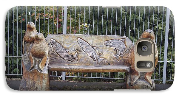 Galaxy Case featuring the photograph Hand Carved Bench by S and S Photo