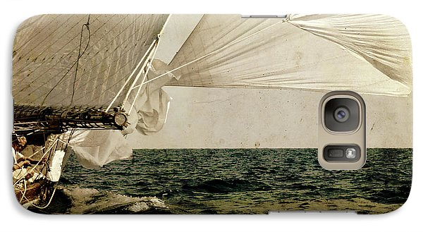 Galaxy Case featuring the photograph Hanged On Wind In A Mediterranean Vintage Tall Ship Race  by Pedro Cardona