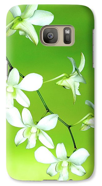 Galaxy Case featuring the photograph Hanging White Orchids by Lehua Pekelo-Stearns